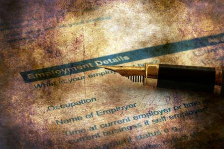 Employment application grunge concept
