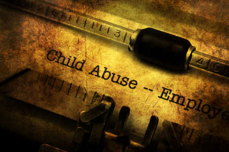 child abuse: Child abuse form on vintage typewriter Stock Photo
