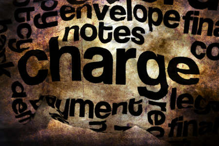 crinkled: Charge text on crinkled paper grunge concept