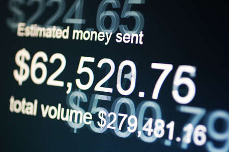 indigent: Money sent on screen Stock Photo