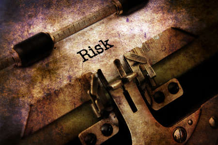 extortion: Risk text on vintage typewriter Stock Photo