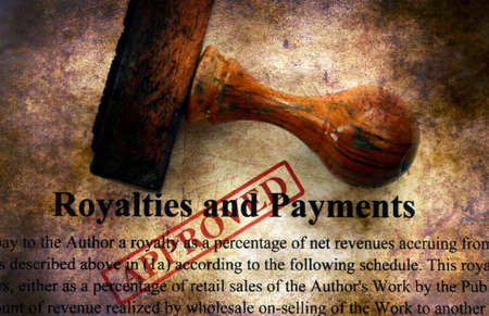 receivable: Royalties and payments grunge concept