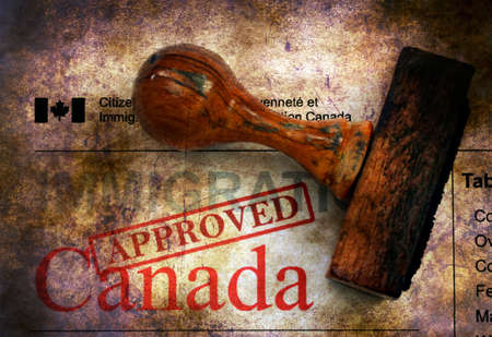 canada stamp: Immigration Canada - approved grunge concept Stock Photo