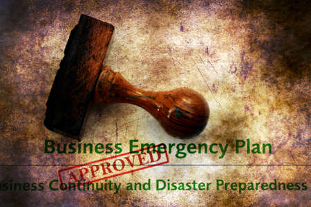 emergency plan: Business emergency plan - approved grunge concept