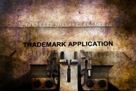 trademark: Trademark application on typewriter