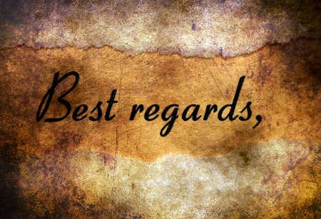 best regards: Best regards text on grunge background
