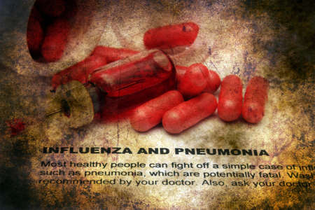 influenza: Influenza and pnemonia grunge concept