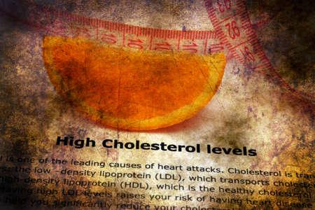angor: High cholesterol level grunge concept Foto de archivo