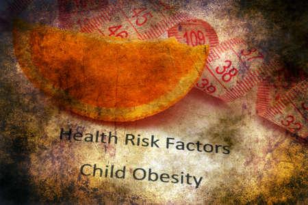factors: Health risk factors - child obesity grunge concept