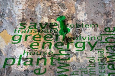push pin: Push pin on green energy concept