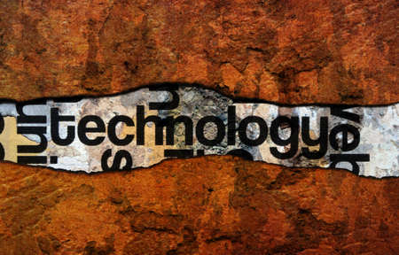 wiki: Technology text on wall Stock Photo
