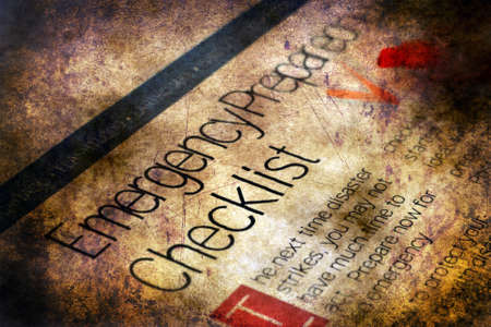 important phone call: Emergency checklist grunge concept
