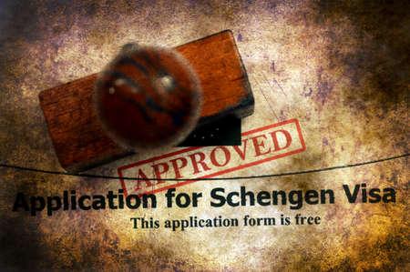 visa approved: Application for Schengen visa approved Stock Photo