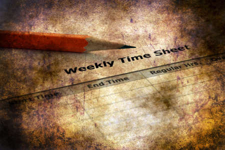 Weekly time sheet  grunge concept Stock Photo