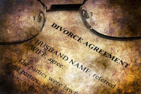Divorce agreement grunge concept