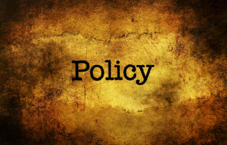 Policy text grunge concept