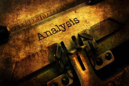 Analysis text on vintage  typewriter Stock Photo