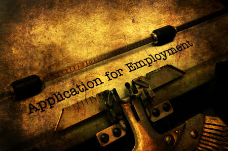 Application for employment on typewriter Stock Photo - 88993676