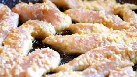 Frying Schnitzel Breaded Chicken Breast
