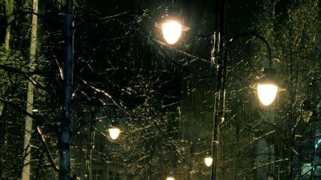 Street Lights On Rainy Night