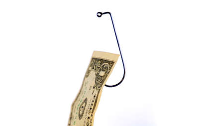 Dollar On A Fishing Hook Isolated On White Background