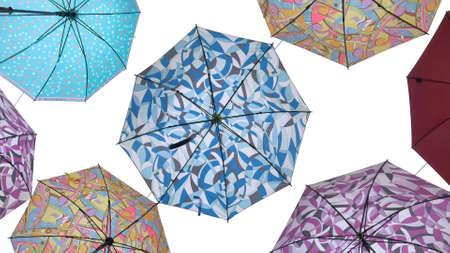 Colourful Umbrellas Against Blue Sky