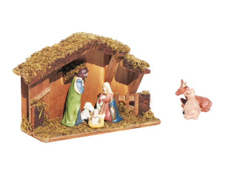 statuettes: Christmas nativity scene represented with statuettes of Mary, Joseph and baby Jesus Stock Photo