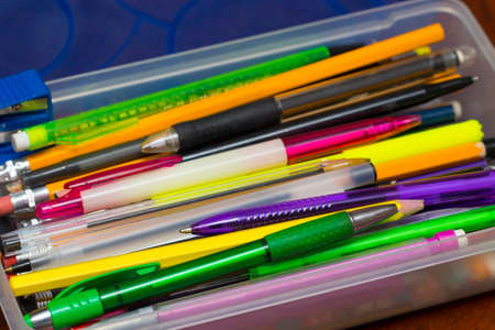 felt tip: Pencil Box with pens, pencils, felt tip marker pens, , office and back to school education projects.