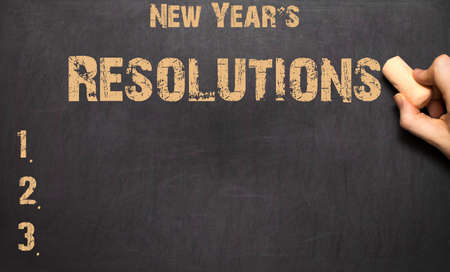 new years resolution: The word New Years resolution written on the blackboard