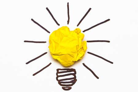 crumpled: Inspiration concept crumpled paper light bulb metaphor for good idea Stock Photo