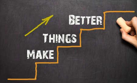 better: Make things better - Improvement Concept. Black background