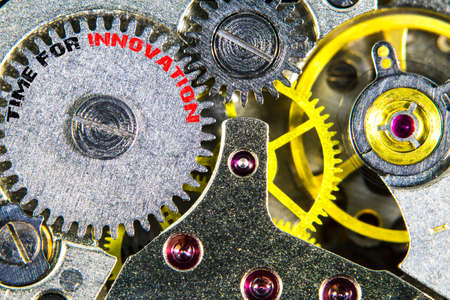 The clockwork old mechanical  high resolution with words Time for innovation