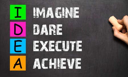execute: Hand writing IDEA - Imagine Dare Execute Achieve with white chalk on blackboard
