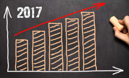 stock predictions: Hand drawing growth graph for year 2017 on blackboard Stock Photo