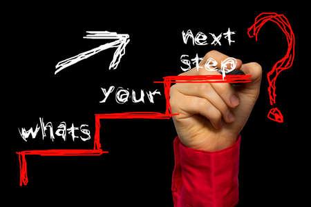 Main qui écrit le texte: Quelle est votre prochaine étape?