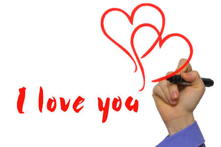 connectedness: red marker with text I love you and two hearts