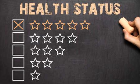 Best Health Status golden stars on Chalkboard