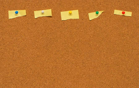 pinboard: Yellow blank note on Cork board with clipping path.