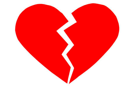 Red heartbreak  broken heart. close up of a paper broken heart on white background with clipping path