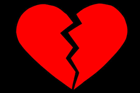 Red heartbreak  broken heart. close up of a paper broken heart on black background with clipping path