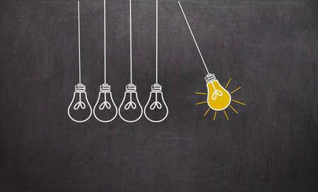 Great Idea. Creativity Concept with light bulbs on chalkboard background Stok Fotoğraf