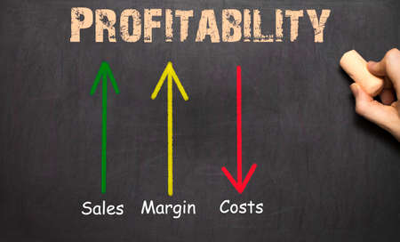 margin: Profitability Business Concept Chalkboard -  arrows with text sales margin costs Stock Photo