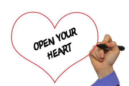 open your heart: Man Hand writing Open your heart with marker on transparent wipe board. Isolated on white.