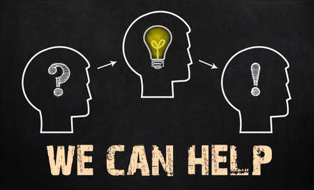 can we help: We can help - group of three people with question mark, cogwheels and light bulb on chalkboard background.