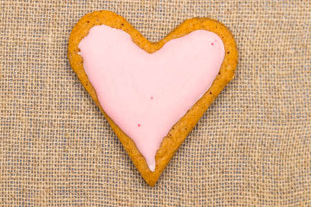dutch girl: baby cookie on burlap in a heart shape.
