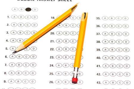 stress testing: Standardized test form with answers and a broken pencil.