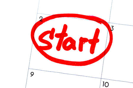 start is the text written on the calendar with a black marker.