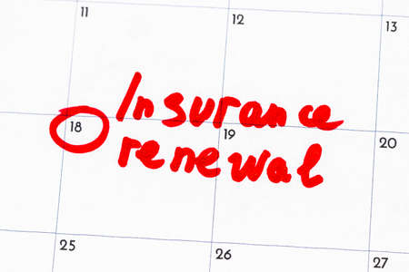 insurance renewal  is the text written on the calendar in red marker.