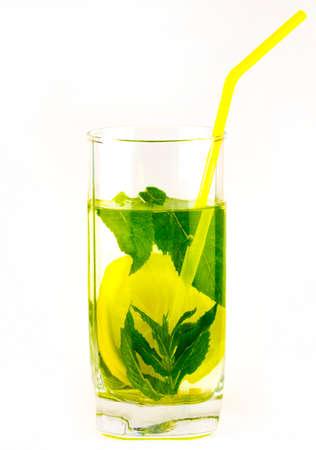 Glass of lemonade isolated on white background. Stock Photo
