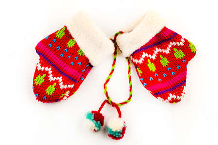 Christmas Red Knitted Mittens  on white background.